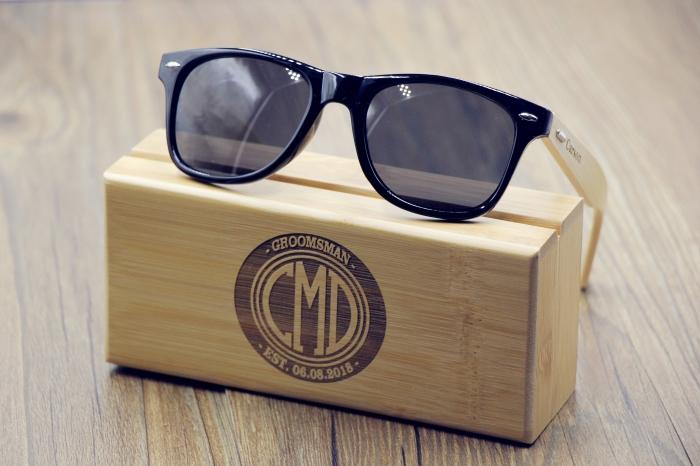 sonnenbrille in schwarz und beige, geschenke für männer die alles haben, box aus holz, was kann ich meinem freund schenken