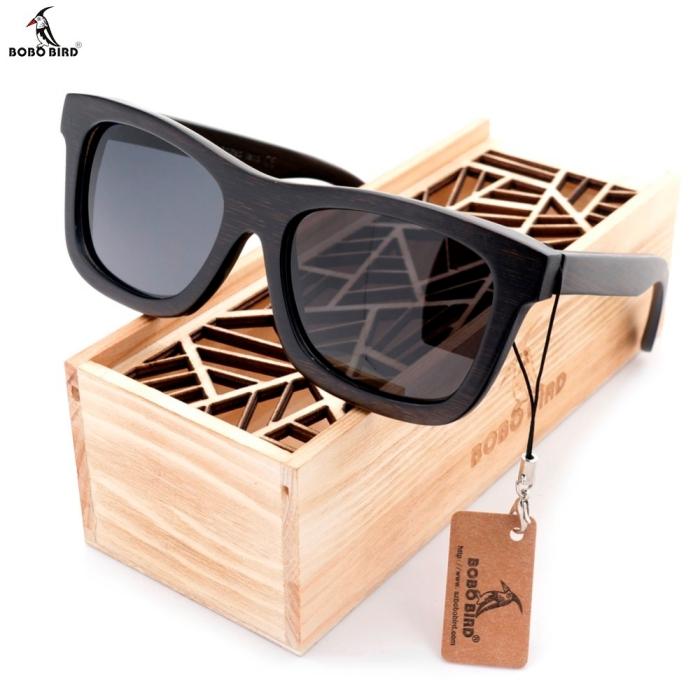 geschenke für männer, schwarze sonnenbrille, box aus holz, geschenk ideen mann