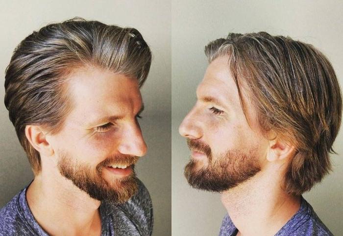 mittellange frisuren mann zwei bilder aus den verschiedenen seiten, blonde haare, bart, collage