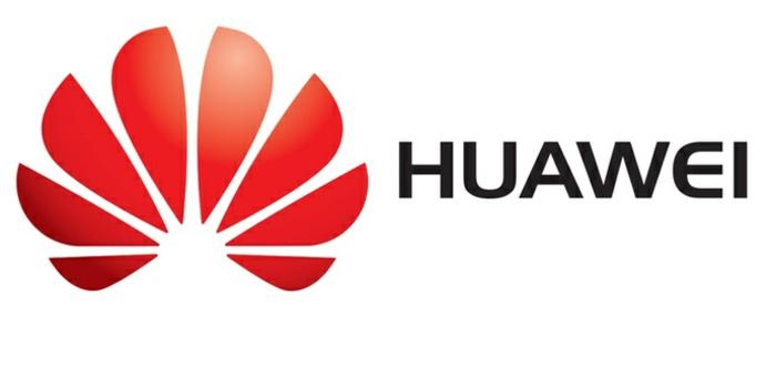 das Logo von Huawei mit rotem Symbol und schwarze Buchstaben, Sperrbildschirm