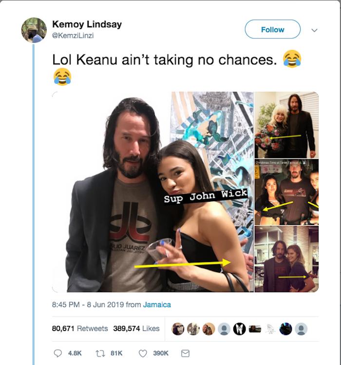 Keanu Reeves wird im Internet auch dafür bewundert, dass er weibliche Fans nicht berührt