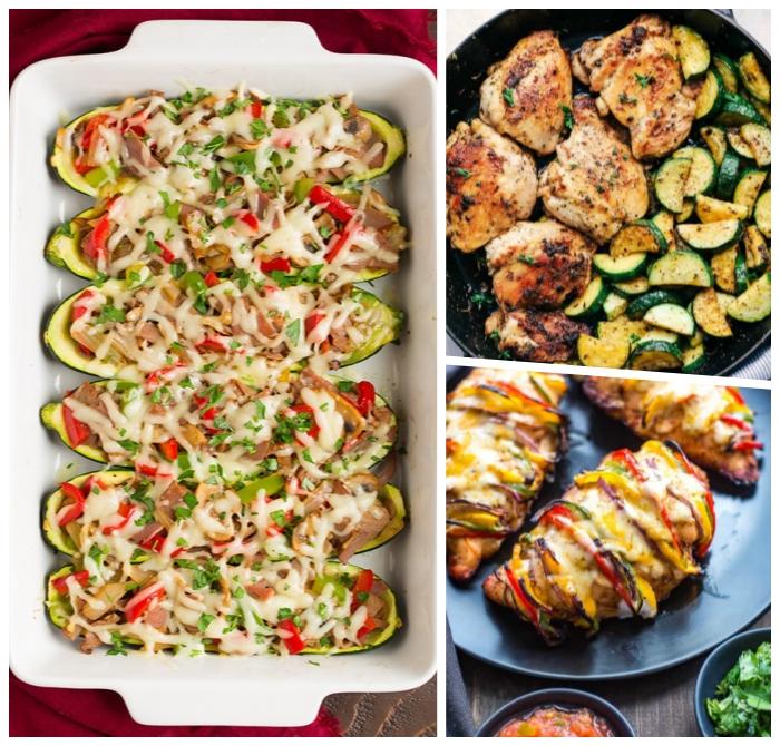zucchini gefüllt mit käse und paprika, kochen ohne kohlenhydrate, low carb gerichte zum abnehmen