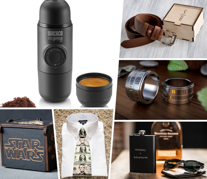 kreatives geschenk für freund, geschenkideen für männer, präsent für mann ideen, schwarze thermosflasche