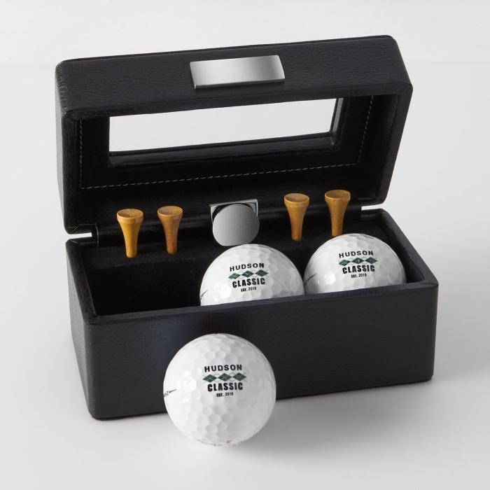 kreatives geschenk für freund, die bestne ideen, golfbälle für profi spieler, schwarze box, geschenkideen mann