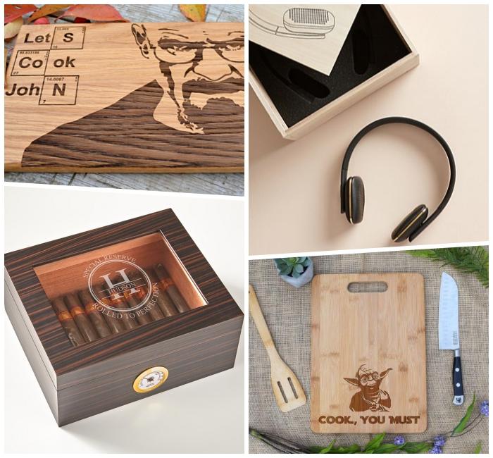 kreatives geschenk für freund, box mit zigarren, bloothoot kopfhörer, küchenbrett mit yoda, geschenkideen mann