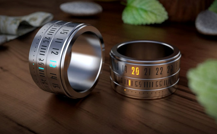 kreatives geschenk für freund, metallene ringe uhren, schmuck für männer, leuchtende zahlen