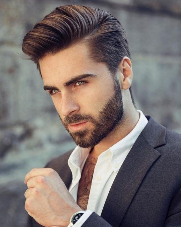 jungen haarschnitt, moderne frisuren, haarschnitt mann bart ideen, klassischer stil
