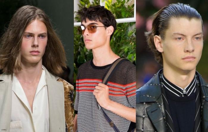 jungen haarschnitt, drei fotos von den modebühnen moderne männer looks