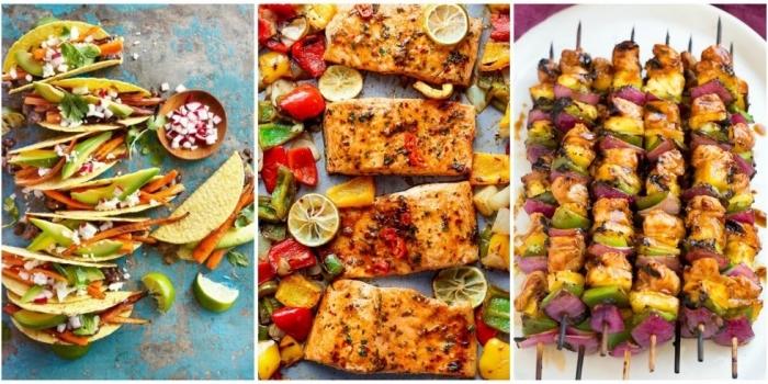 gesunde vegetarische tacos, lachs mit rotem, gelbem und grünem paprika, leichte sommergerichte, spieße mit hühnerfleisch