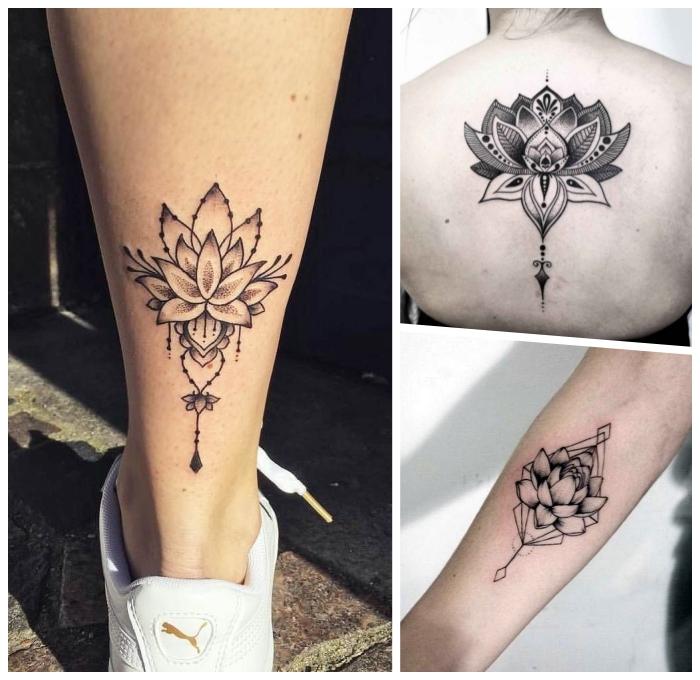 lotus tattoo am bein, tätowierungen für frauen, lotusblume mit mandala motiven, weiße sportschuhe