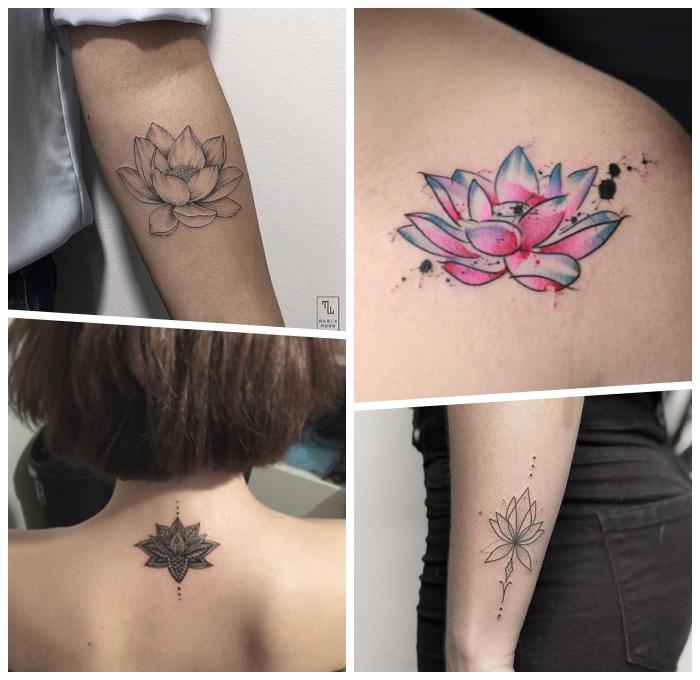 lotus tattoo ideen, tätowierung am arm, die besten designs für frauen, lotusblume in blau und rosa