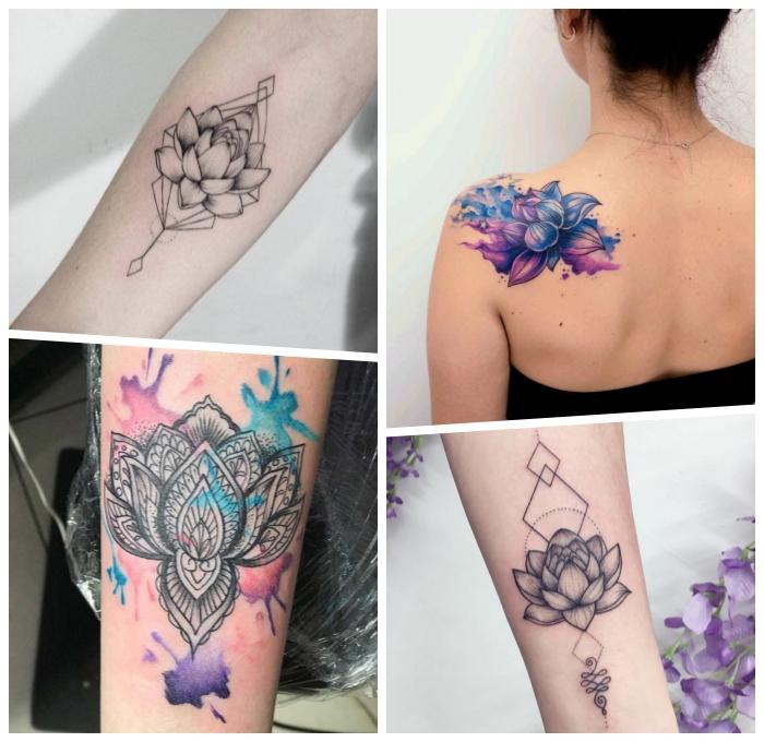 lotus tattoo ideen und designs, tätowierung am schulter, lotusblume mit unalome, wasserfarben