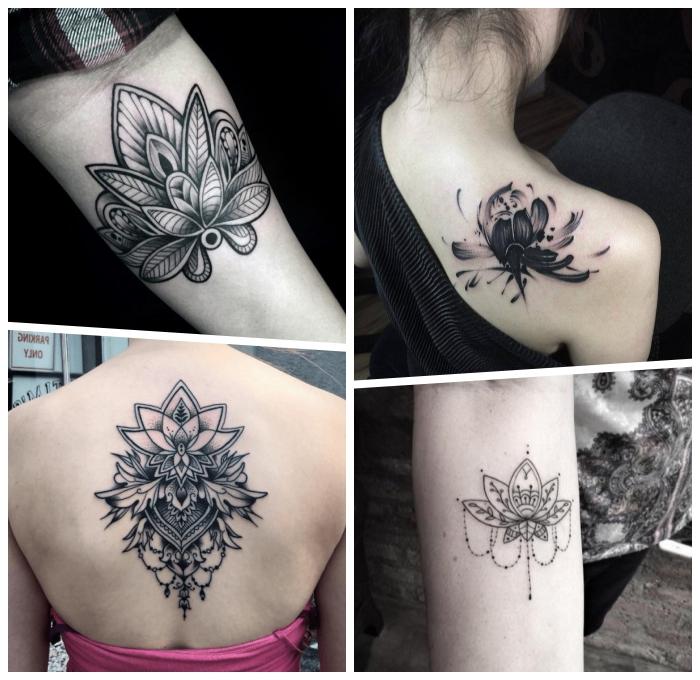 lotus tattoo, tätowierungen in schwarz und grau, blackwork tattoos für frauen ideen, lotusblumen