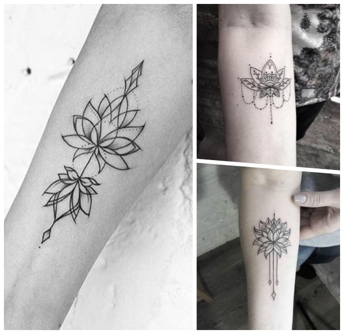 lotusblüte bedeutung tattoo, die besten designs für frauen, kleine motive, geoemtrische elemente