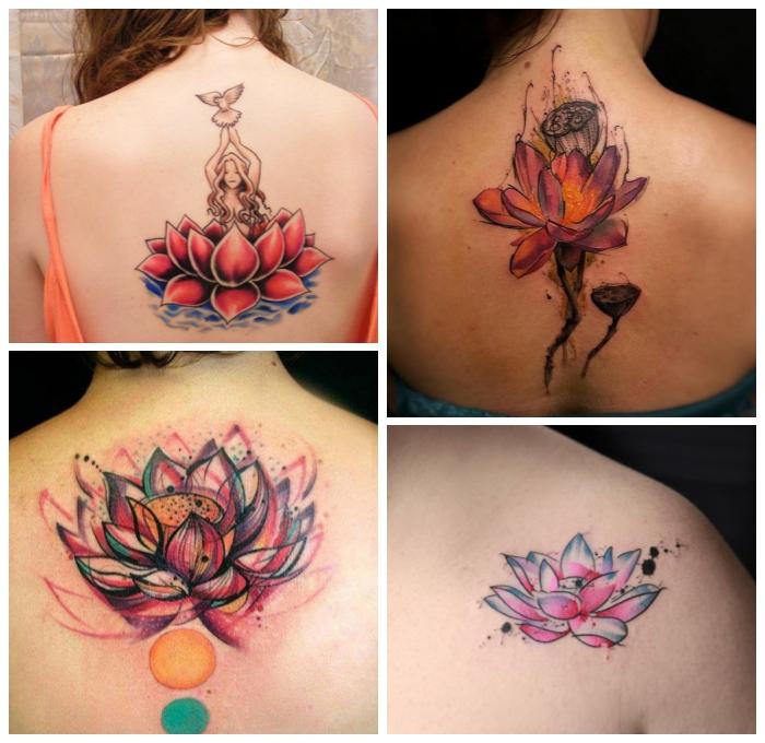 farbige tätowierungen mit lotus als motiv, lotusblüte beduetung tattoo, buddhismus symbole