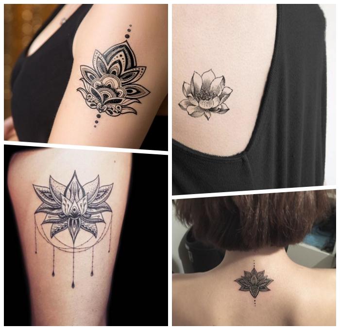 lotusblüte bedeutung tattoo, tätowierungen für frauen ideen, mandala lotusblume, blume