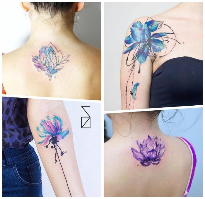 lotusblume tattoo ideen für frauen, wasserfarben tätowieeungen, verschiedene designs, lila lotus, blaue lotusblüte