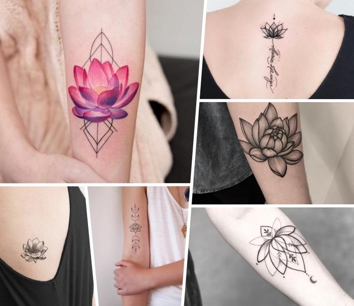 lotusblume tattoo designs, rosa lotus mit goemetrischen motiven, tätowierungen für frauen ideen