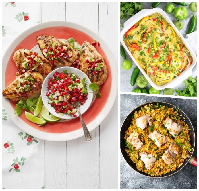 low carb rezepte abend, einfaches und schnelles abendessen ideen, hühnerbrust mit salza, kasserolle mit eiern und paprikas