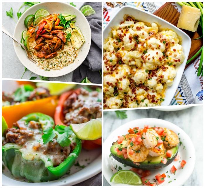 low carb rezepte abend, essen ohne kohlenhydrate ideen, sonnenblumenkohl mit bakon, gefüllte paprikas