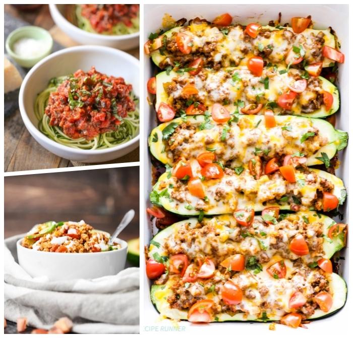 low carb rezepte abend, gefüllte zucchini mit hackfleisch und cherry tomaten, kohlenhydratarme ernährung