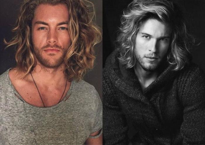 frisuren für männer mittellang lange blonde haare, haarstyle ideen locken, lässiger look