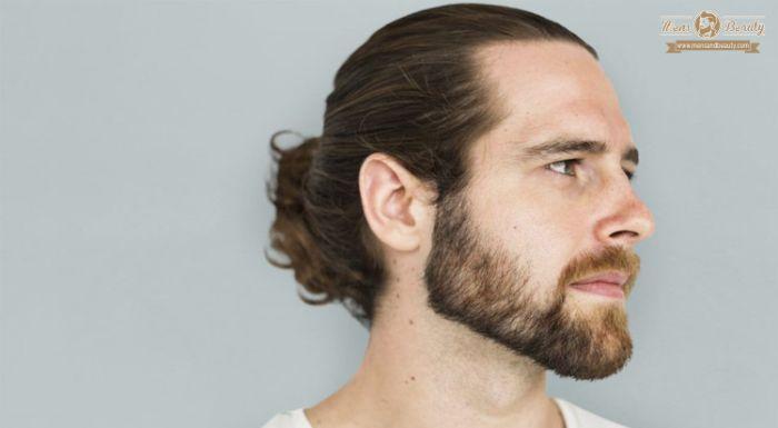 lange haare männer, haare niedrig hinten binden, moderne frisuren für herren mittellanges haar
