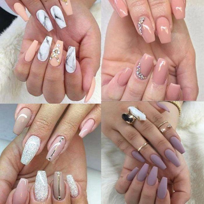 spitze nägel design ideen, marmor muster, matt gellack, perlen, sticker zum aufkleben