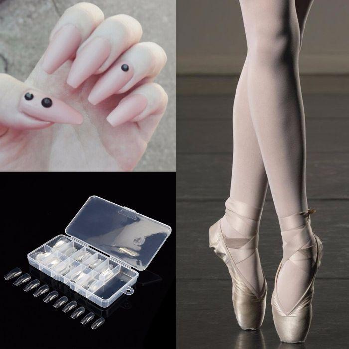 gelnägel spitz ideen, die beine einer ballerina und ihre nägel, maniküre dezent, lang und schön