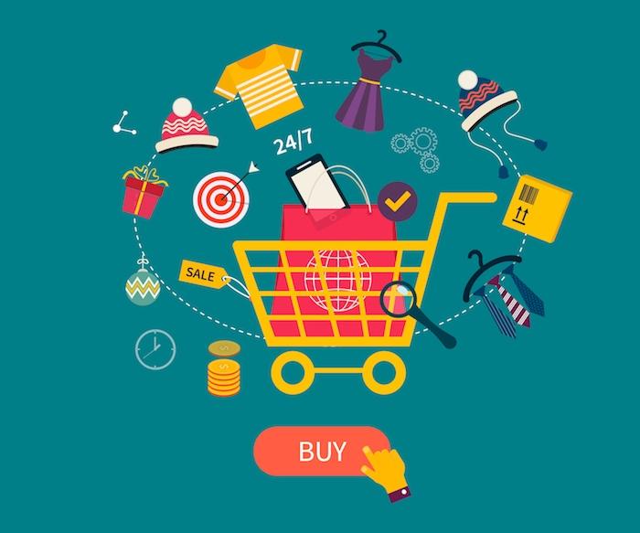 kleiner gelber einkaufswagen, ein smartphone, ein online geschöft, drei kleine krawatten, ein roter blumentopf mit grünen pflanzen