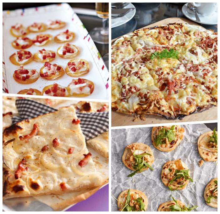 rezepte für flammkuchen, mini tarte flambee mit rukola und käse, partyessen ideen
