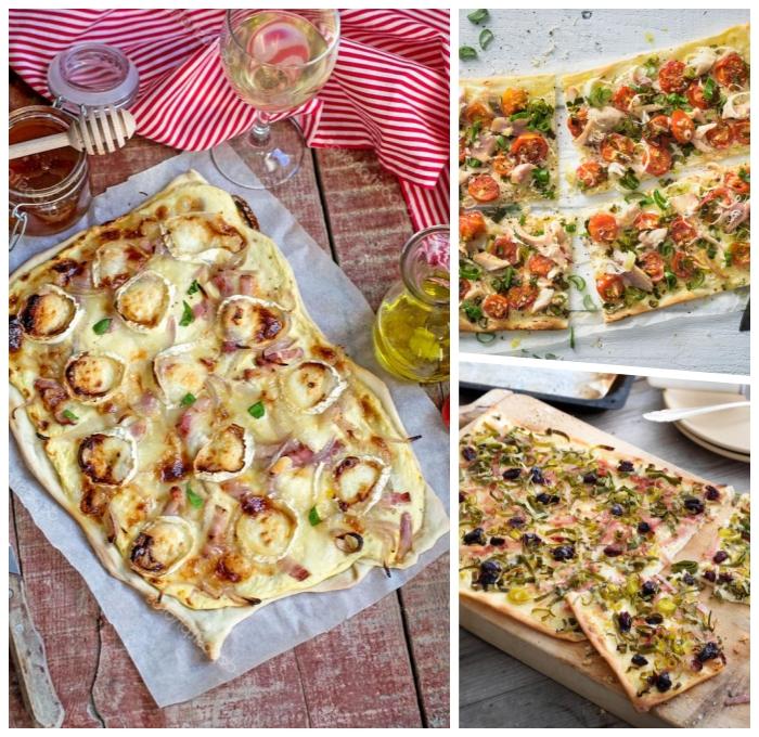 rezepte für flammkuchen, tarte flambee mit pilzen, bacon und käse, leckeres partyessen