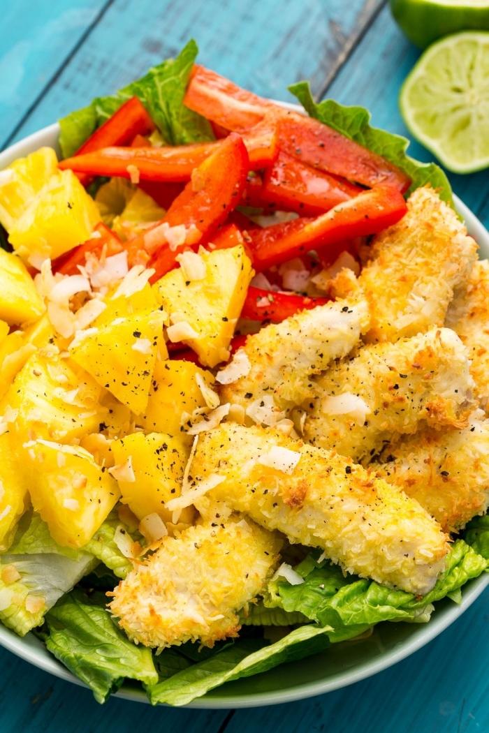 schnelle einfache gerichte, hühnerstückchen mit rotem paprika und ananas, low carb essen