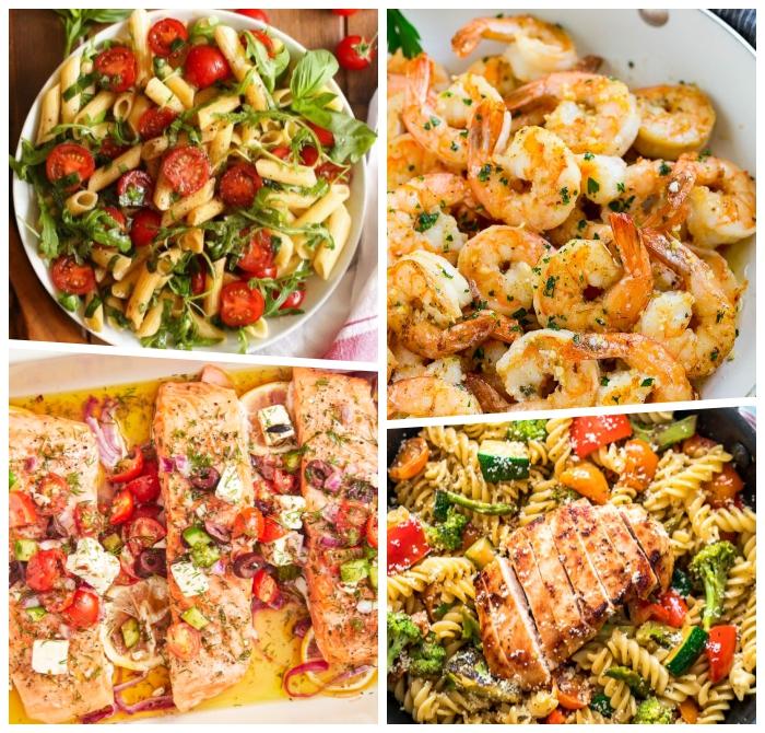schnelle einfache gerichte, salat mit pasta, gericht mit garnelen, lachs mit gemüse