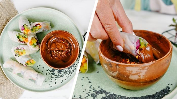 low carb essen, schnelle einfache gerichte, frühlingsrollen mit erdnussbutter soße