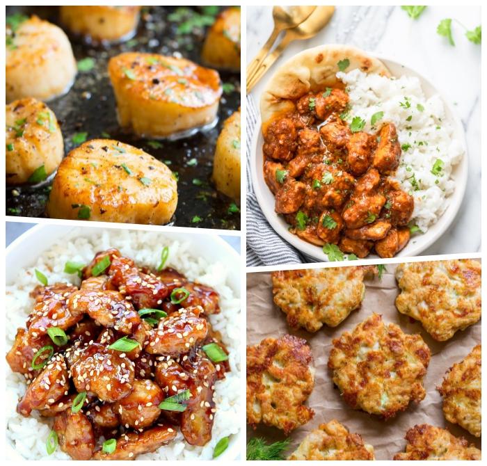 schnelle einfache gerichte, mushclen mit kärutern, huhn teriyaki, hühnerfleisch mit reis und sojasoße