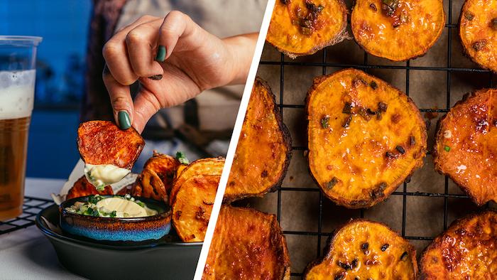 Kartoffelchips aus dem Backofen, fettarm und knusprig, mit Mayo Dip servieren