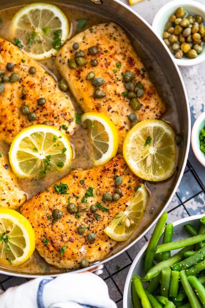 schnelle gerichte für jeden tag, hühnerbrust mit grünen bohnen und zitronen, mittagessen low carb