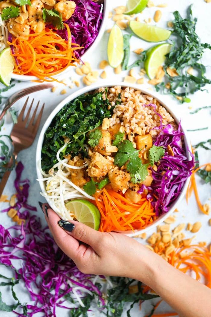 gesunder salat mit karotten, rotem kraut, tofu und petersilie, schnelle rezepte abendessen