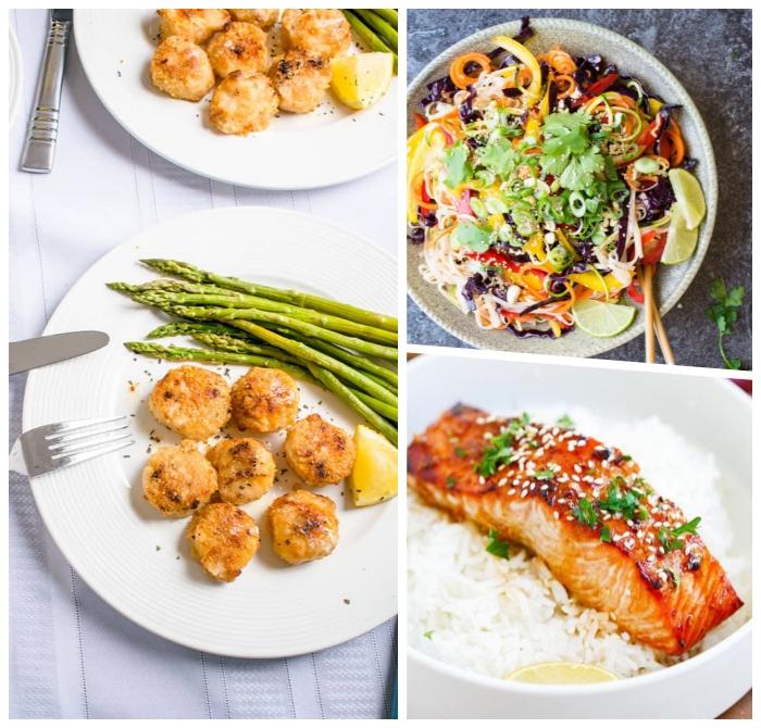 schnelle rezepte mittagessen, muscheln mit salat aus spargeln, frische sommerrezepte, gesunder salat