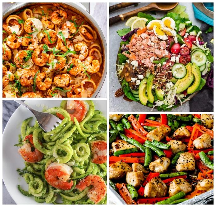 abendessen ideen, schnelle rezepte ohne kohlenhydrate, zucchini salat mit garnelen, hühnerstückchen mit spargeln und rotem paprika
