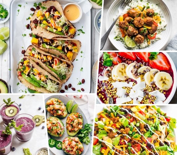 schnelle sommer rezepte für jeden tag, vegetarische tacos, smoothies mit kiwi und blaubeeren, gesunder salat