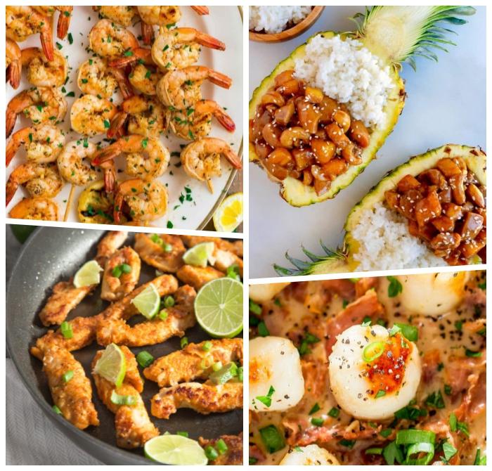 schnelle sommer rezepte, spießen mit garnelen, huhn teriyaki in ananas, hühnerstückchen mit limetten