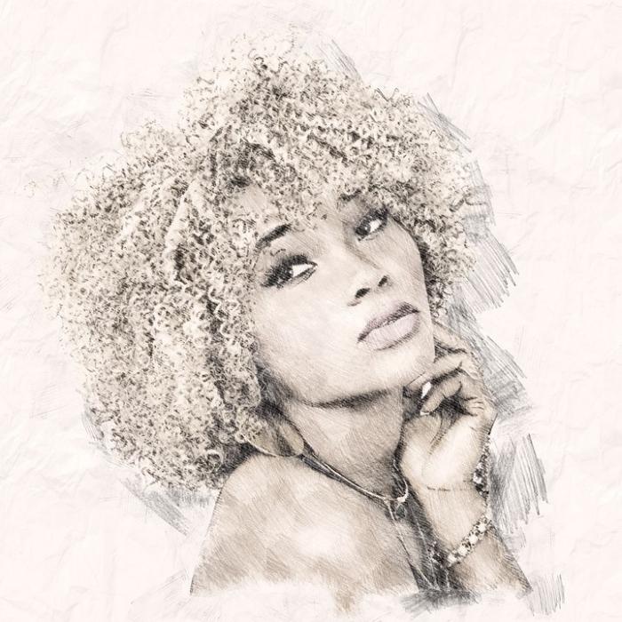 schöne bilder zum malen, frau zeichnen, lockige haare, realitische zeichnung miz bleistift, frauengesicht