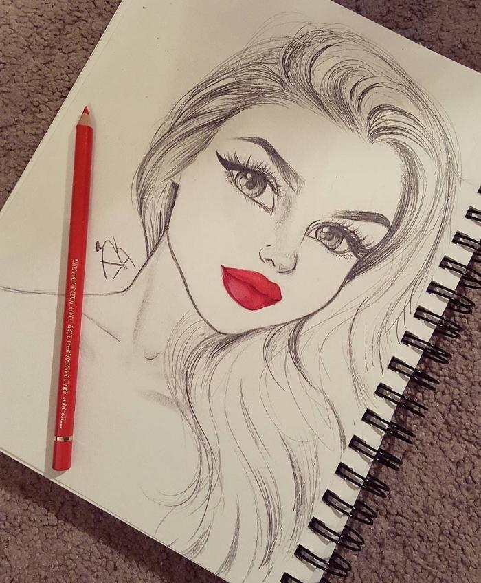 mädchen zeichnen ideen, rote lippen, große augen, schöne bilder zum selber malen, frauengesicht