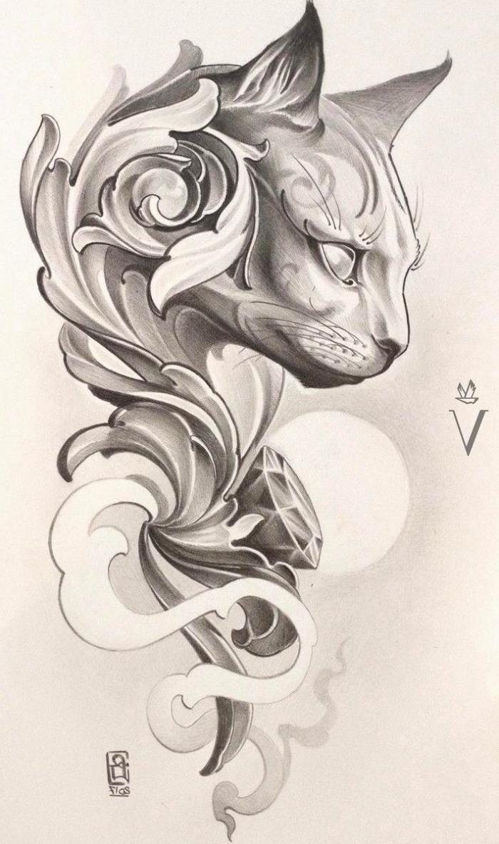 katze zeichnen, japanische motive, schöne bilder zum malen, tätowierungen ideen, tattoo vorlage