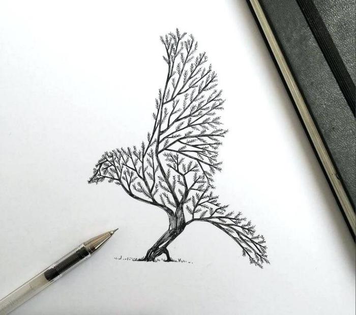 schöne bilder zum malen, vogel baum, schwarzer kugelschreiber, coole zeichnungen