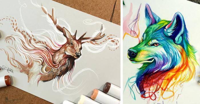 schöne bilder zum nachmalen, farbige zeichnungen, wolf zeichnen, hirsch mit großem geweih, bunte marker