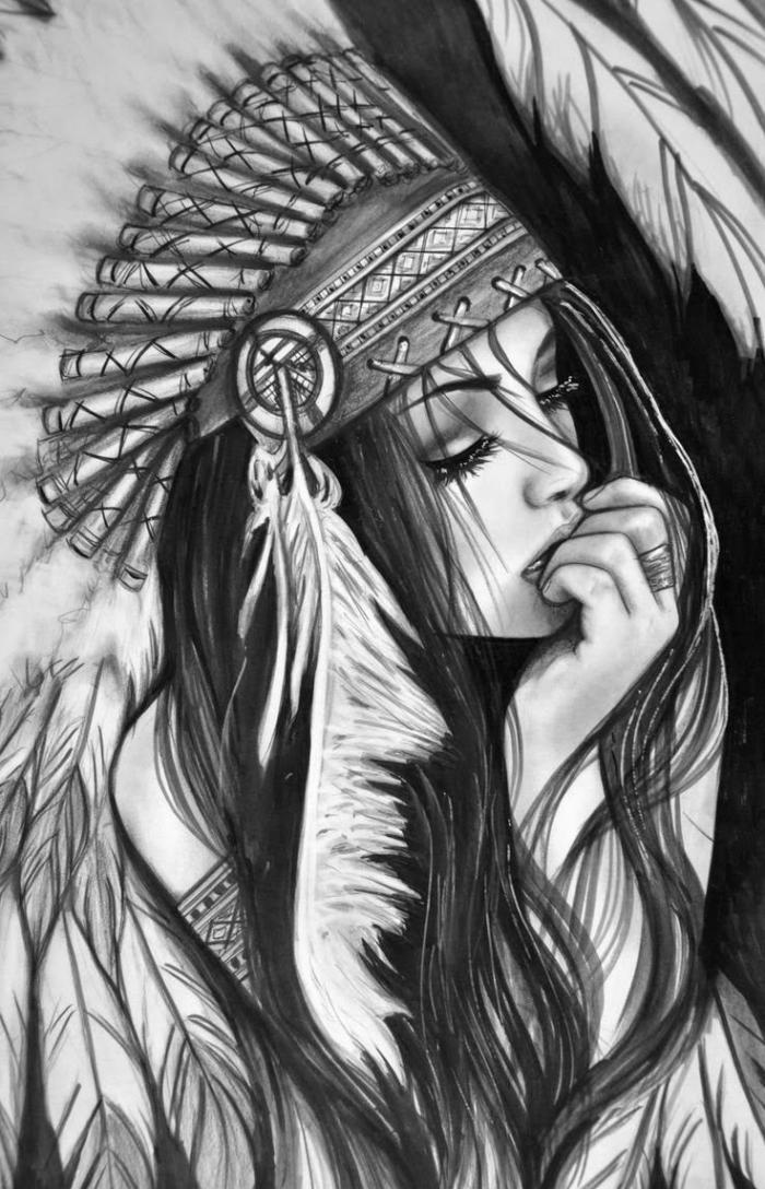 schöne bilder zum nachmalen, mädchen zeichnen, frau mit dunklen haaren und großer indianer kopfshcmuck