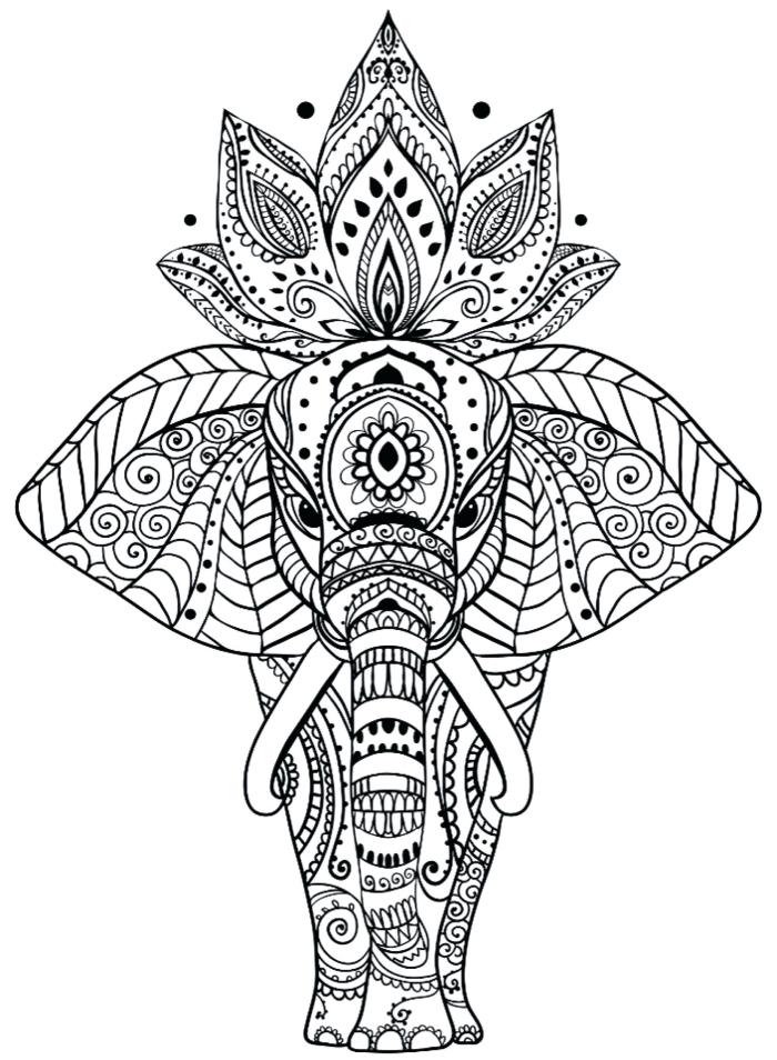 schöne bilder zum nachmalen, mandala tier, elefant mit lotusblume am rücken, geometrische und florale elemente